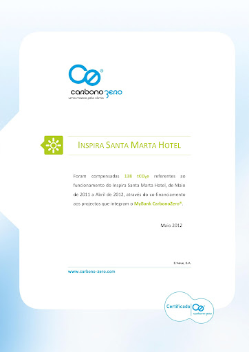 Inspira Santa Marta Hotel reduced its CO2 Emissions
