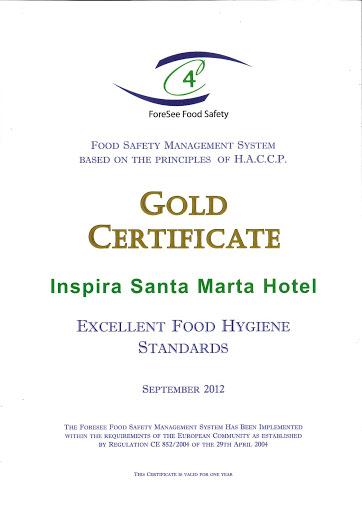HACCP Gold Certificate | Certificado Ouro HACCP 2012